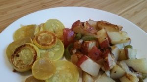 easy skillet fried potatoes and yellow squash