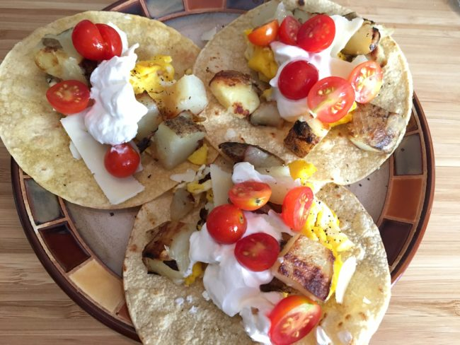 Scrambled Egg and Pan-Potato Tacos